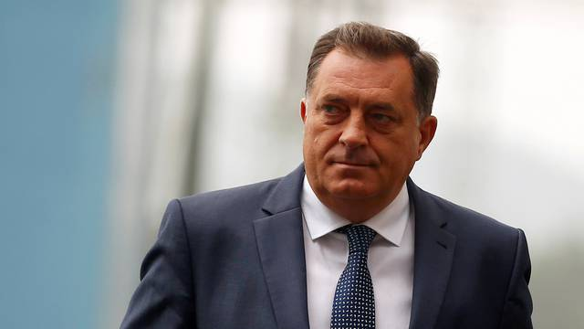 President of the Republika Srpska, Milorad Dodik, arrives to the ceremony marking the official commissioning of 300 MW coal-fired power plant in Stanari near Doboj