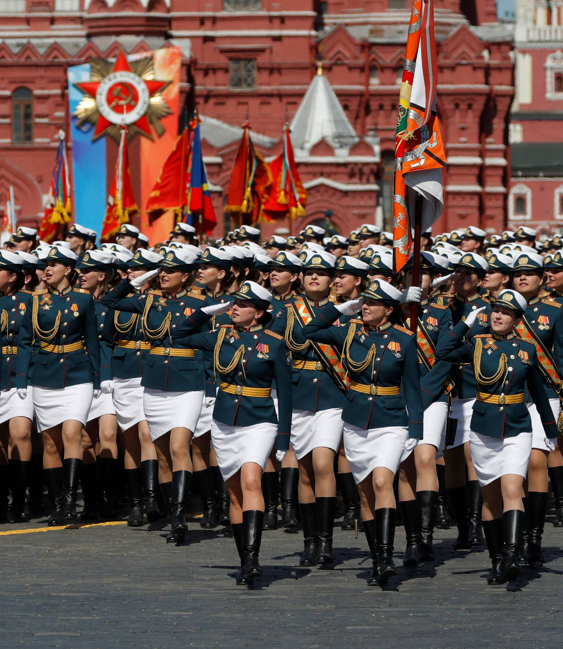 Russian servicewomen march during the Victory Day parade at Red Square in Moscow
