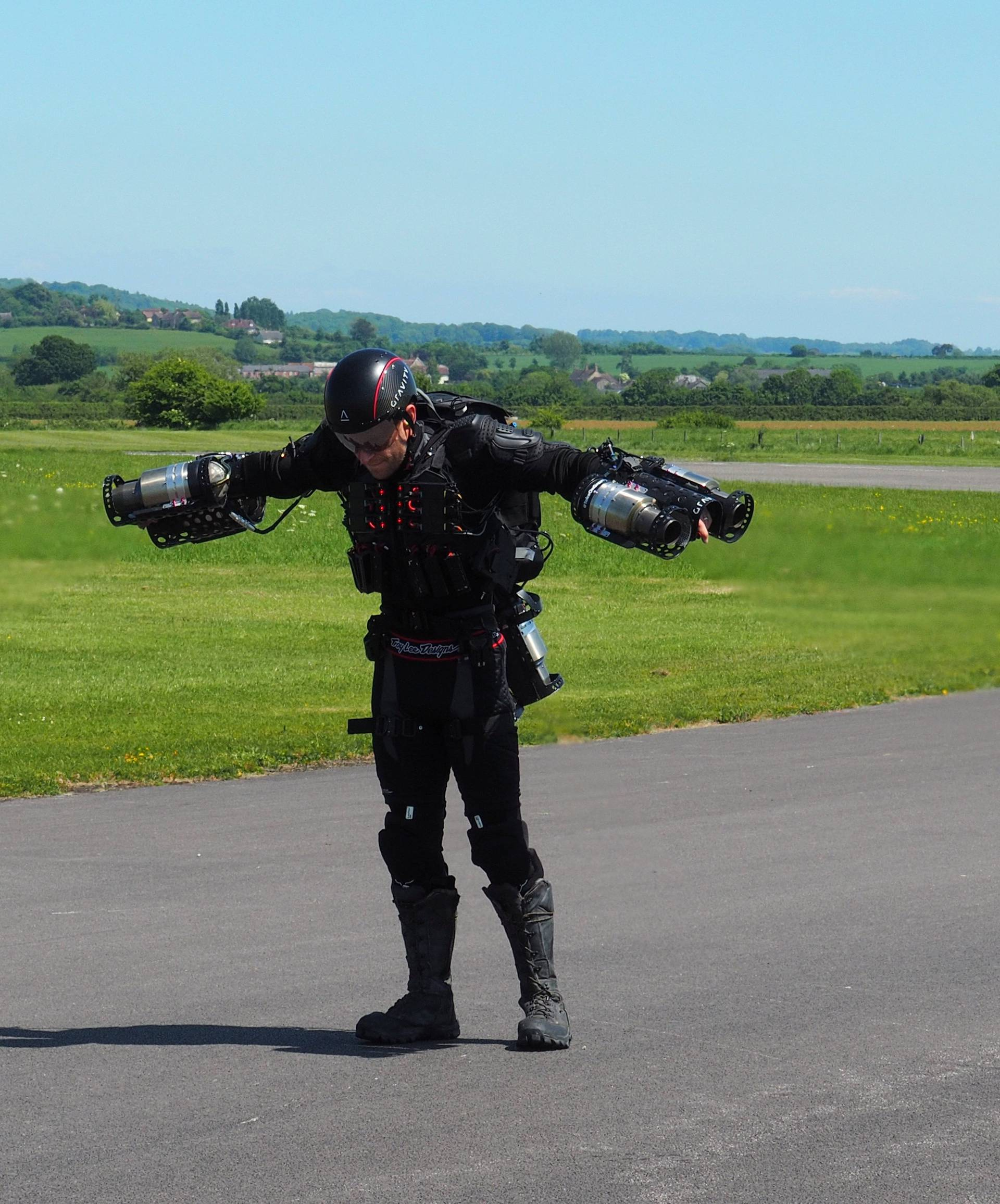 Inventor Richard Browning of technology startup Gravity prepares to take off in his ÒDaedalusÓ jet suit at Henstridge airfield in Somerset