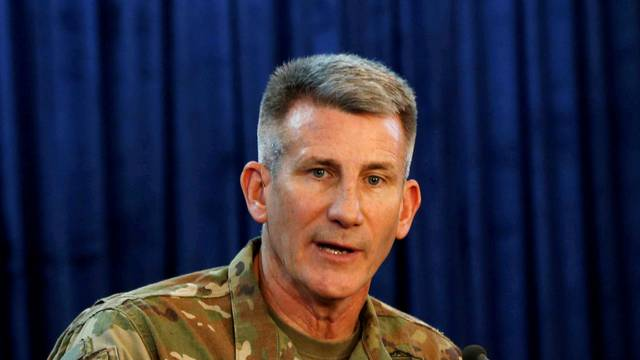 FILE PHOTO: U.S. Army General John Nicholson, Commander of Resolute Support forces and U.S. forces in Afghanistan, speaks during a news conference in Kabul