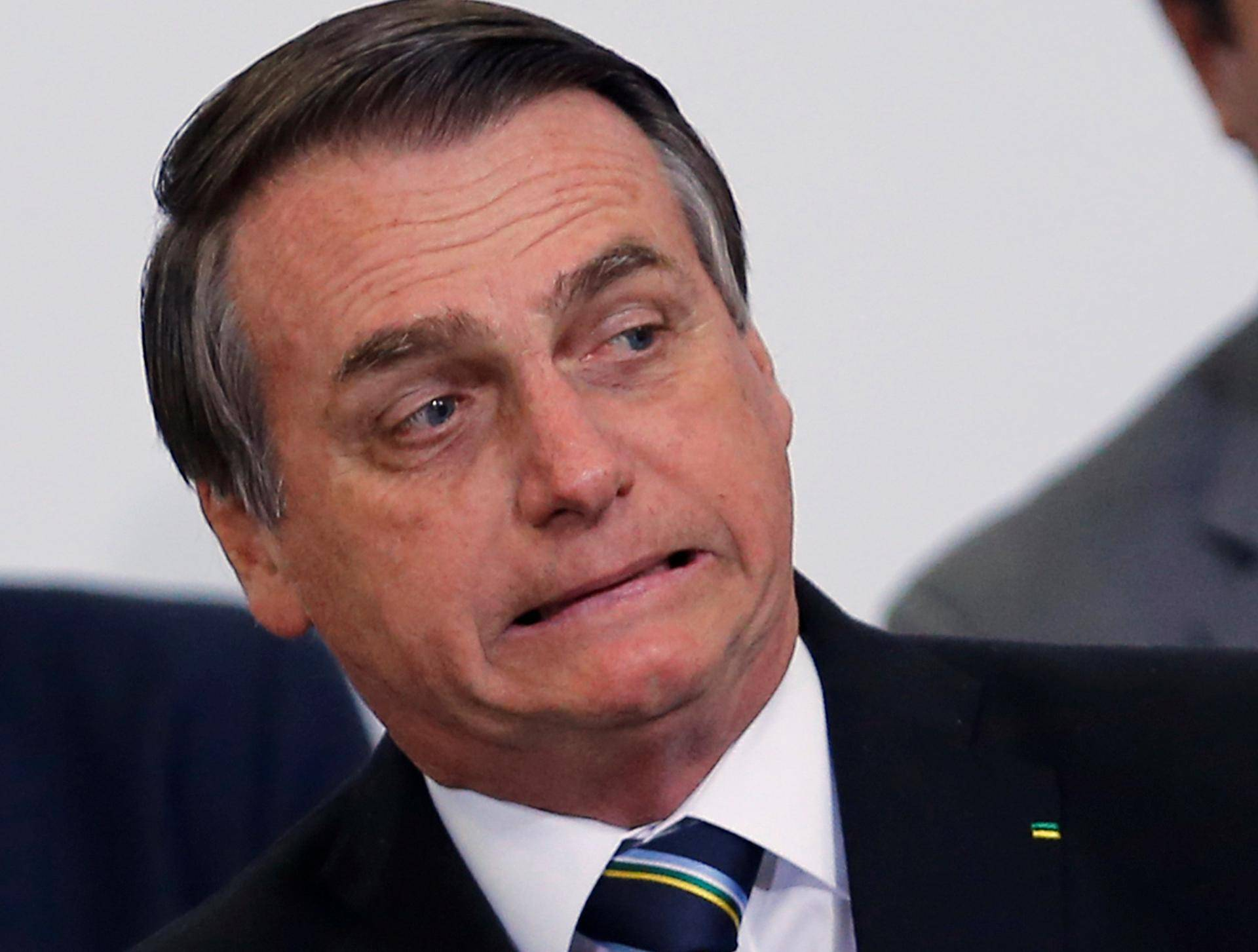 Brazil's President Jair Bolsonaro attends the ceremony marking his 200 days in office at the Planalto Palace in Brasilia