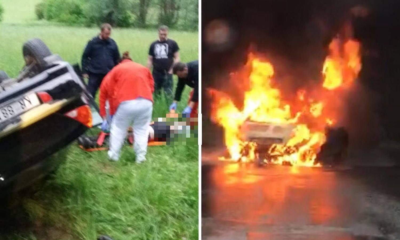 Sletio autom u kanal pa ostao zarobljen, drugom auto izgorio