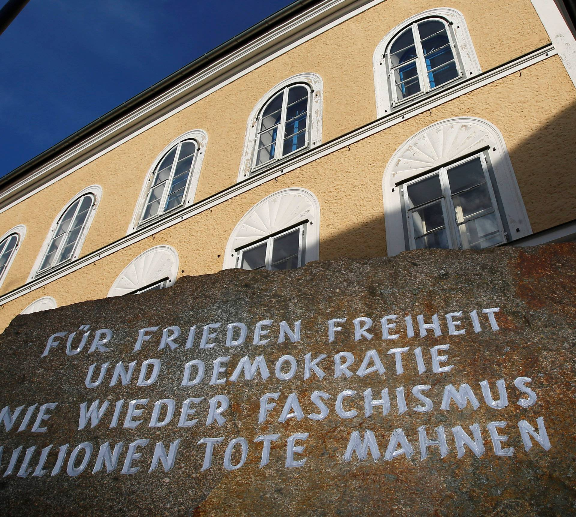 Inscribed stone outside house in which Adolf Hitler was born is pictured in the northern Austrian city of Braunau am Inn