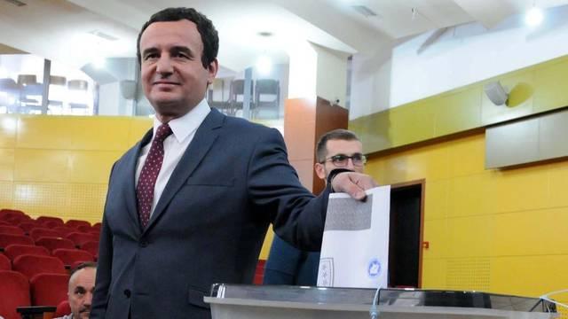 Albin Kurti, leader of the Vetevendosje party, casts his vote at a polling station in Pristina