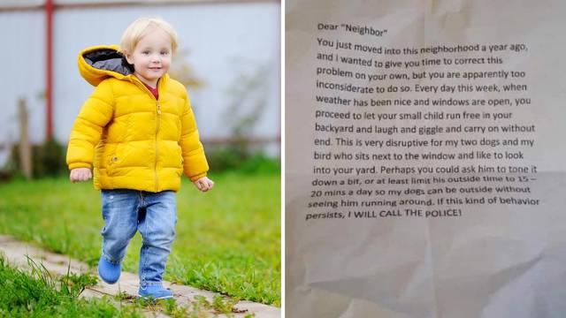 Dragi susjed, igra vašeg djeteta vani smeta mojim psima, ograničite to na samo 15 minuta