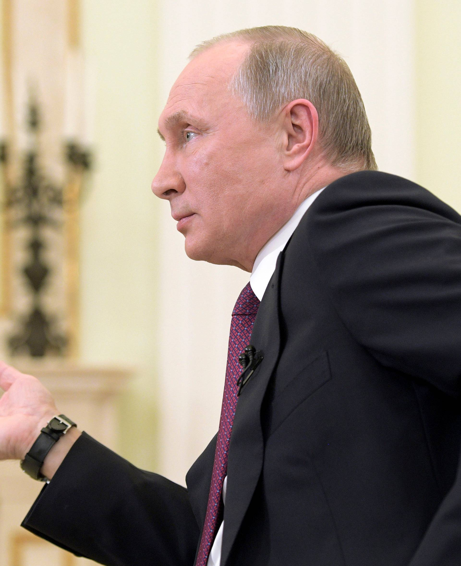 Russian President Putin gives an interview to Japanese Nippon Television and Yomiuri newspaper at Kremlin in Moscow