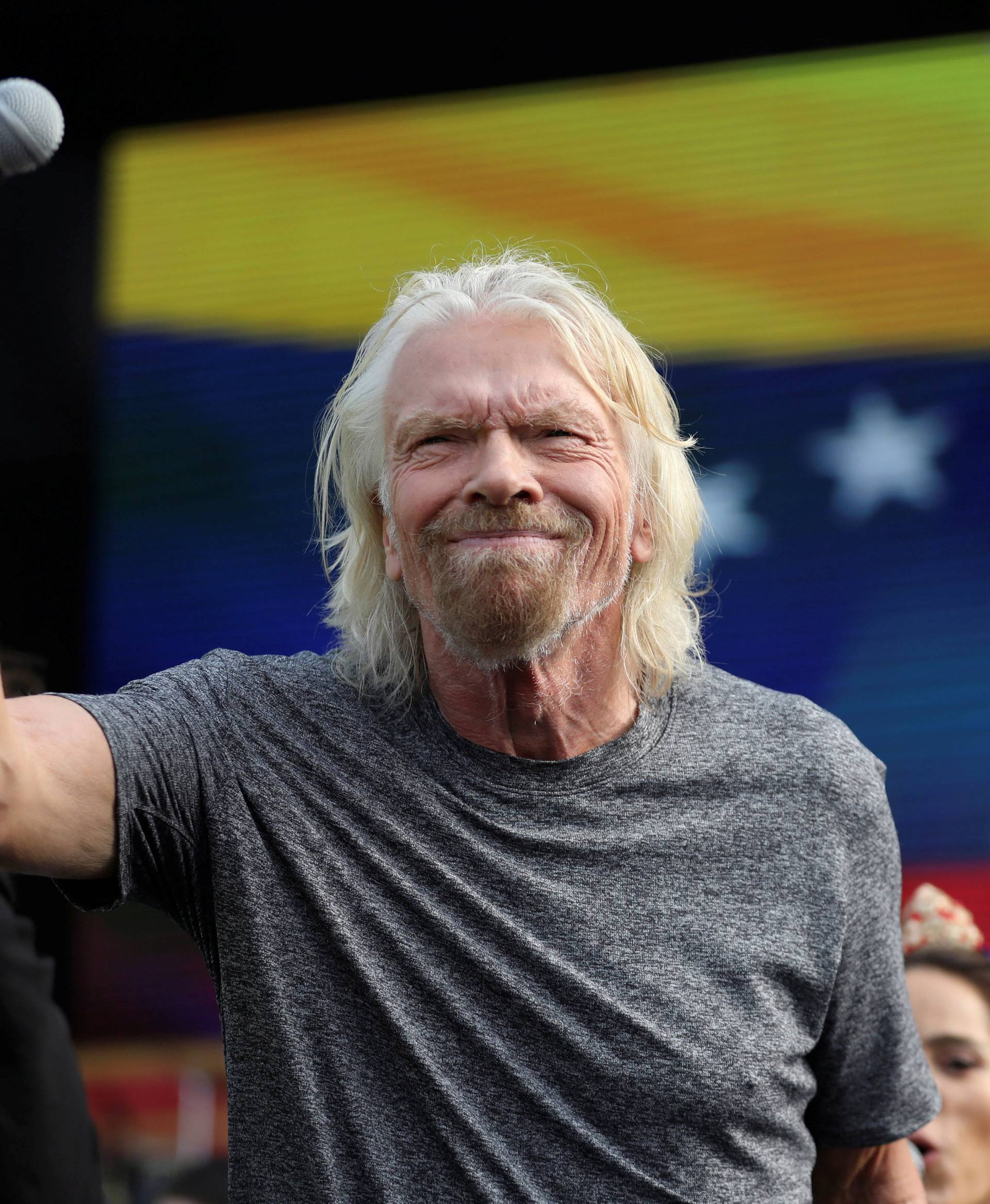 "Sir Richard Branson attends the ""Venezuela Aid Live"" concert near the Tienditas cross-border bridge between Colombia and Venezuela, in Cucuta"