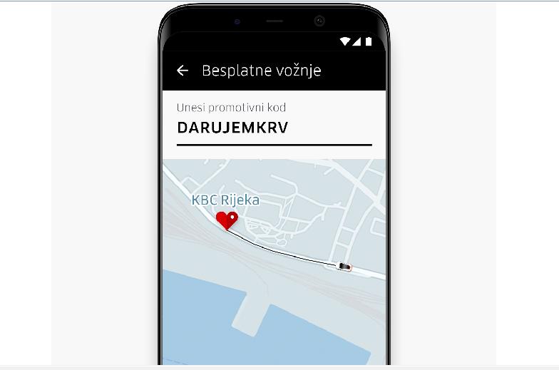 Uber danas besplatno prevozi darivatelje krvi u KBC Rijeka