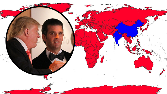 Ovo je karta svijeta koju je objavio Trumpov sin, Hrvatska je na njoj označena kao more