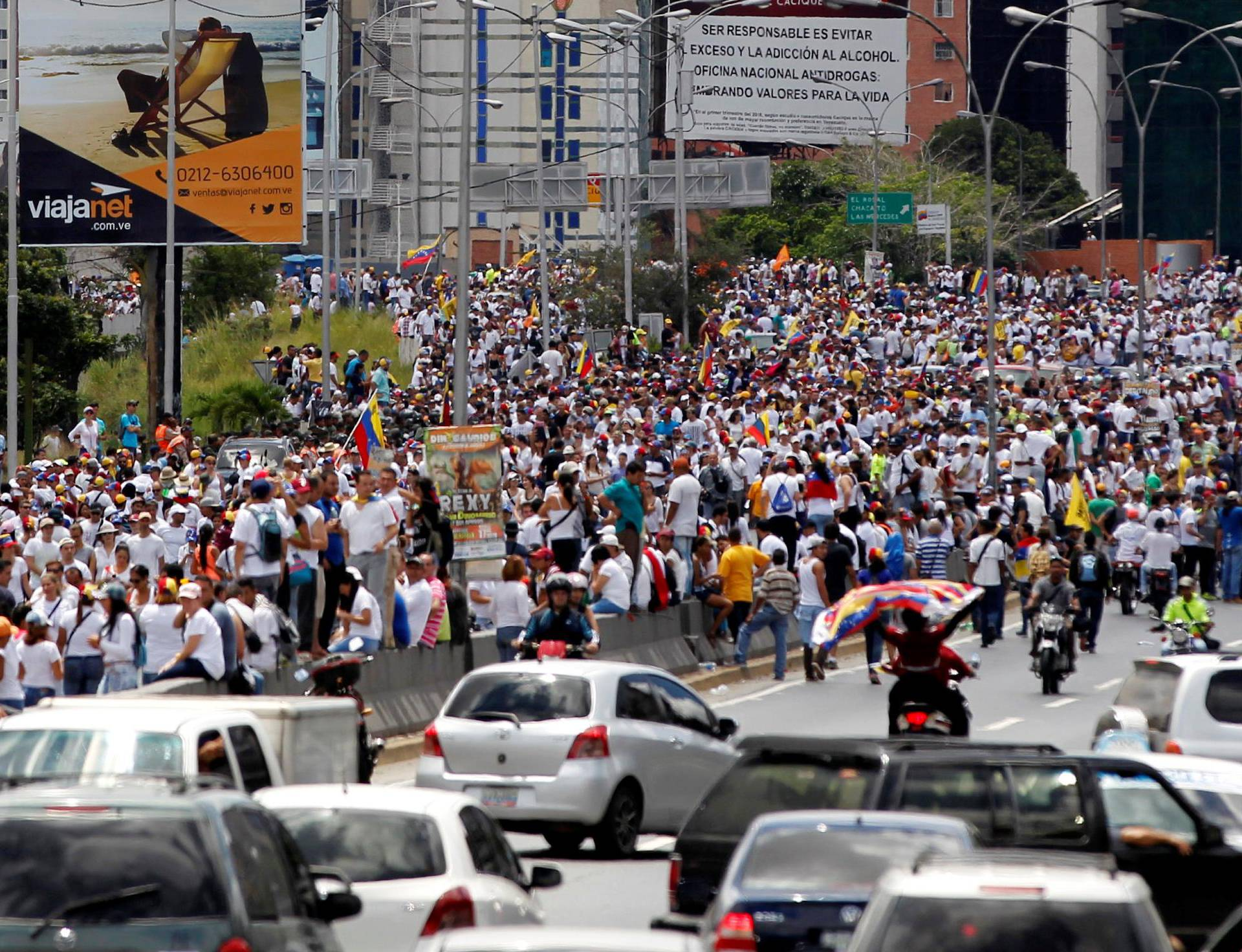 Opposition supporters take part in a rally to demand a referendum to remove Venezuela's President Nicolas Maduro, in Caracas, Venezuela