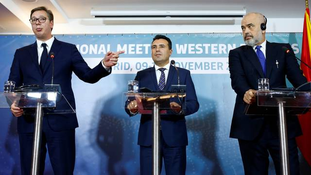 North Macedonia's PM Zoran Zaev, Albania's PM Edi Rama and Serbia's President Aleksandar Vucic attend a news conference during trilateral meeting in Ohrid