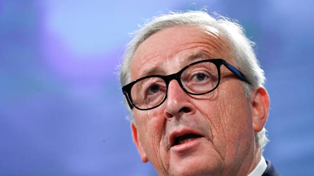 European Commission President Jean-Claude Juncker speaks during a joint news conference with European Investment Bank President Werner Hoyer at the EC headquarters in Brussels