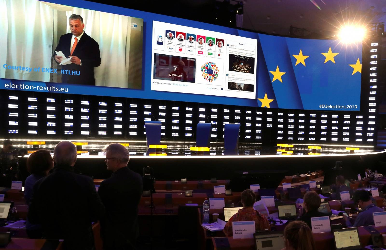 Election night at the European Parliament in Brussels