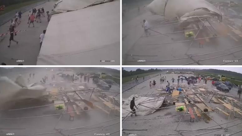 VIDEO Olujni vjetar u 10 sekundi odnio šator, ljudi se razbježali