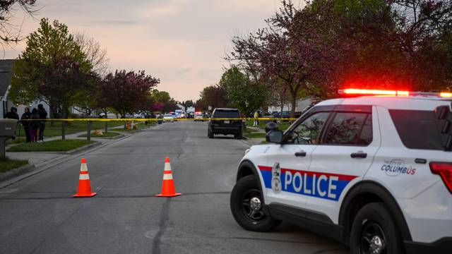 The scene of a police shooting in Columbus