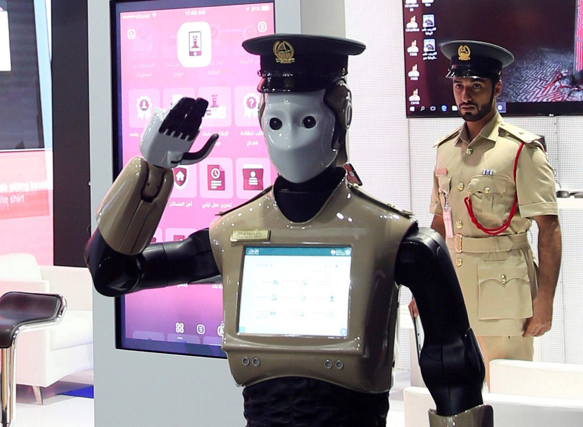 Operational robot policeman is seen at the opening of the 4th Gulf Information Security Expo and Conference (GISEC) in Dubai