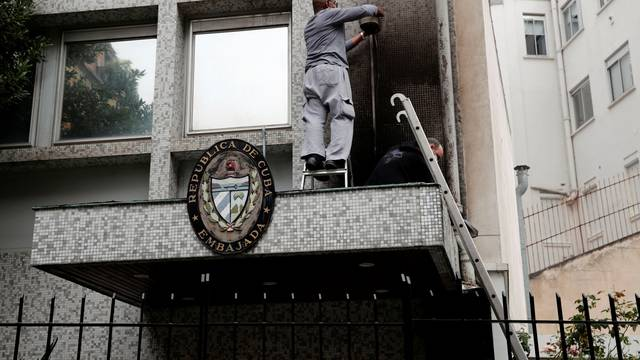 Aftermath of overnight petrol bomb attack on Cuban embassy building in Paris