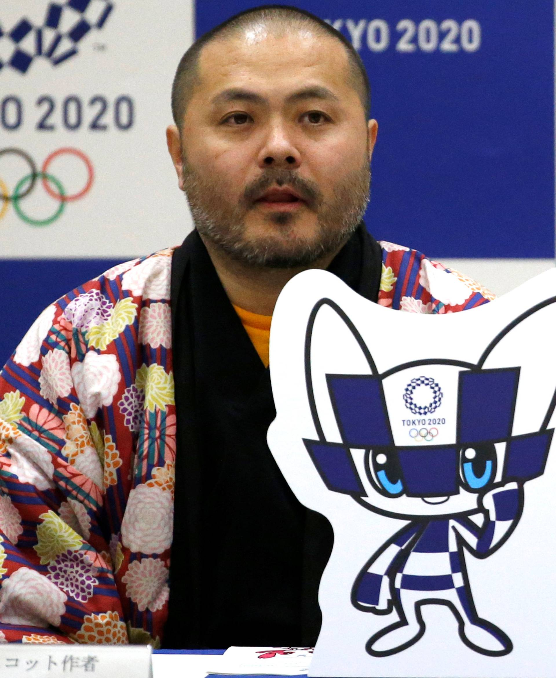 The designer of winning mascots Ryo Taniguchi attends a news conference after Tokyo Olympics organizers unveiled the mascots for the Tokyo 2020 Olympics and Paralympics in Tokyo
