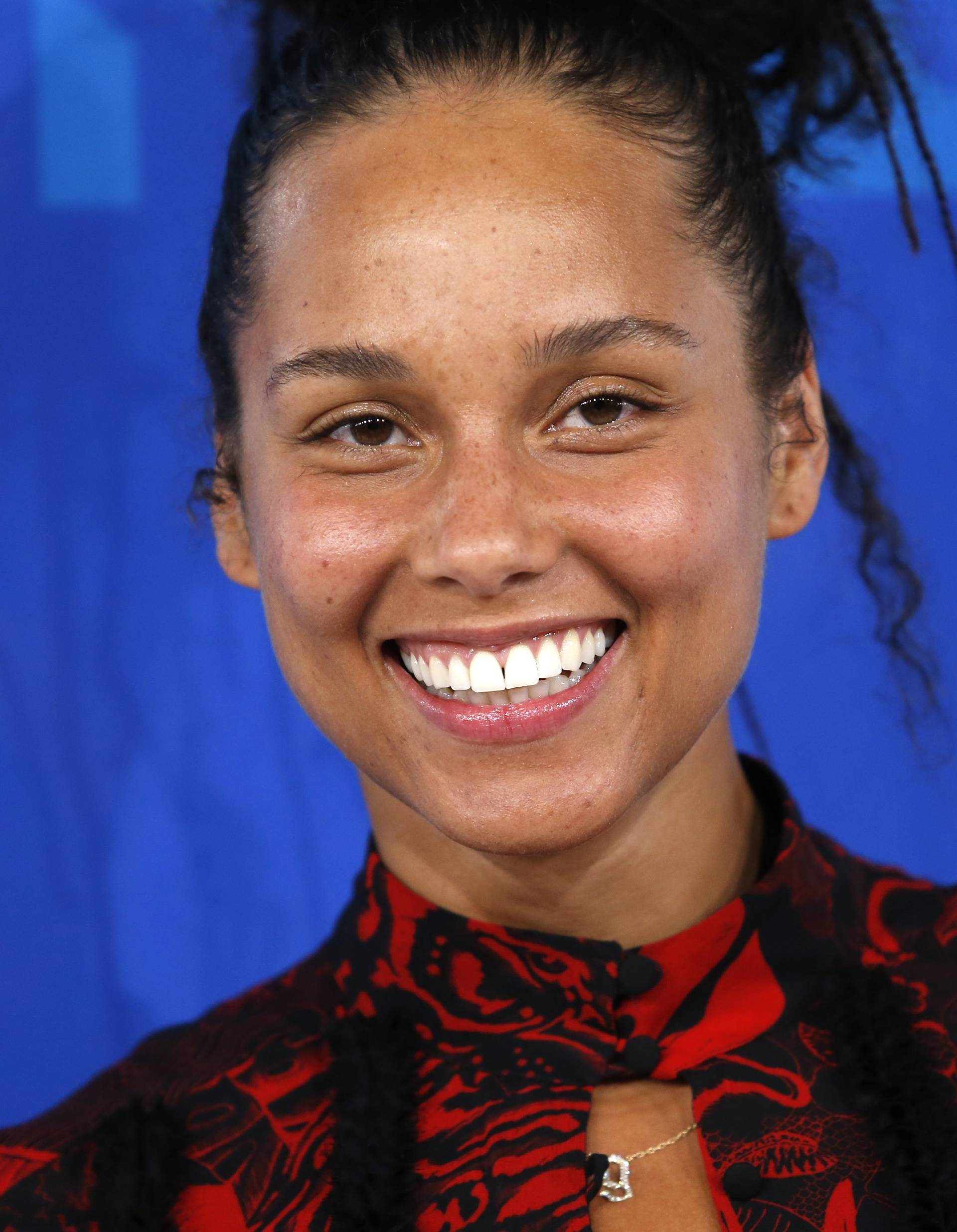 Musician Alicia Keys arrives at the 2016 MTV Video Music Awards in New York