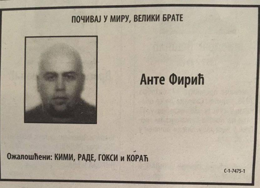 U Srbiji objavili 'čitulju' Firiću: U potpisu je i vođa 'Grobara'?