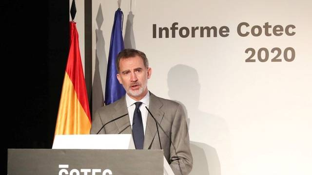 Spain's King Felipe gives a speech at a conference in Madrid