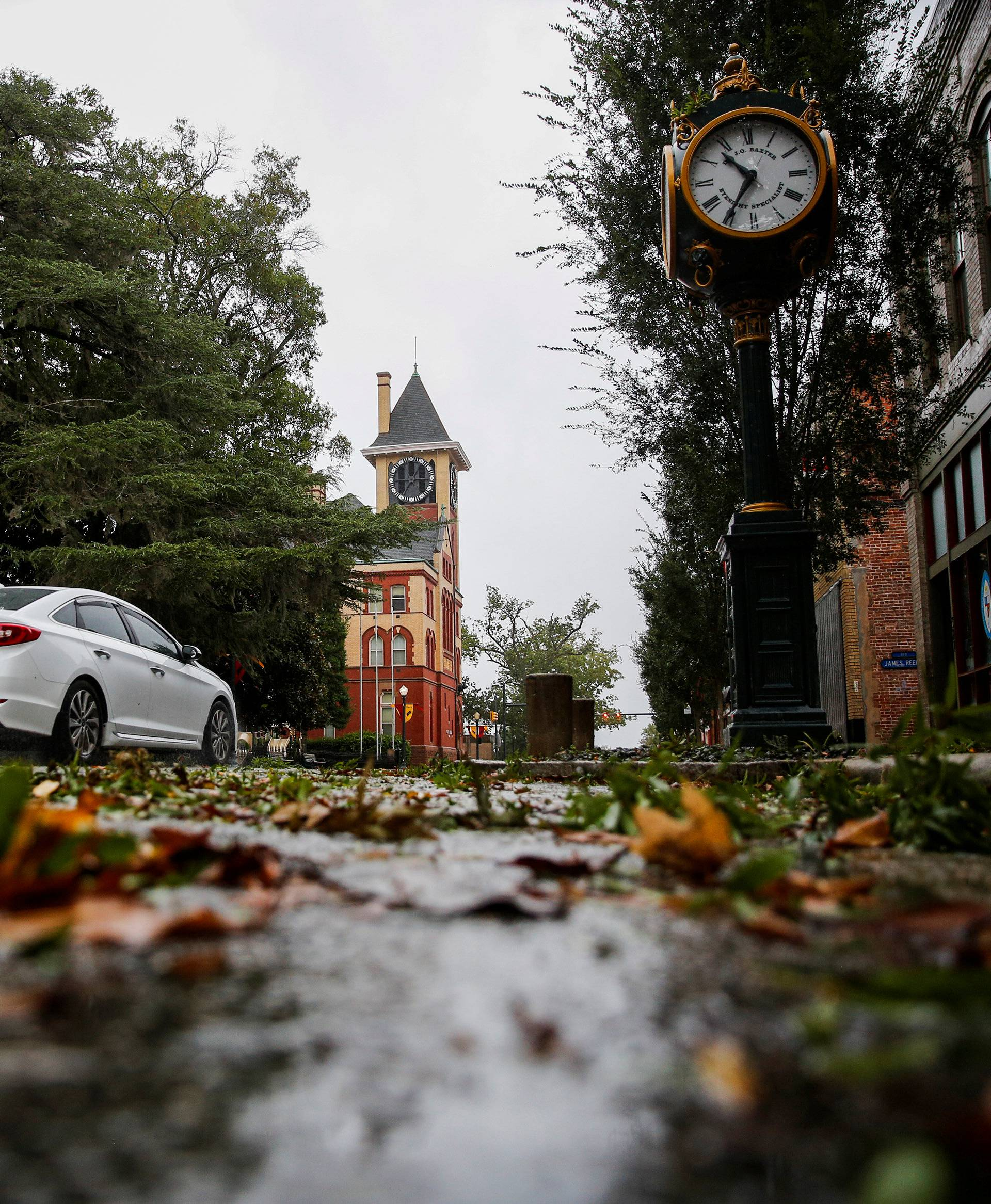 Tree leaves and branches are seen on the street as Hurricane Florence comes ashore in New Bern, North Carolina