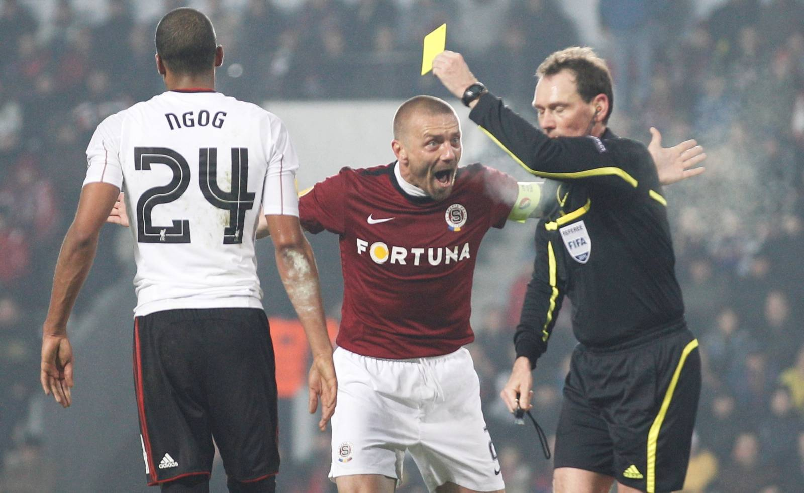 FILE PHOTO: Tomas Repka argues with referee, 2011