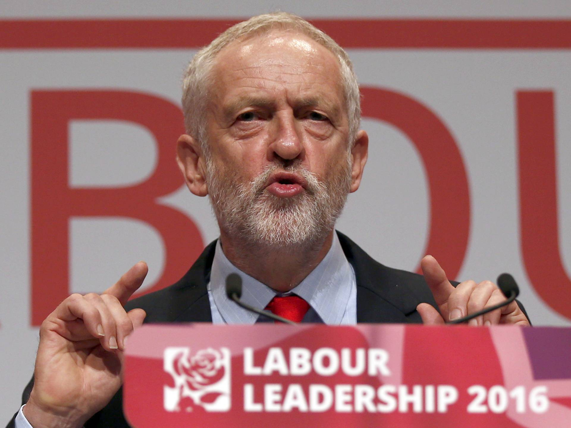 The leader of Britain's opposition Labour Party, Jeremy Corbyn, speaks after the announcement of his victory in the party's leadership election, in Liverpool