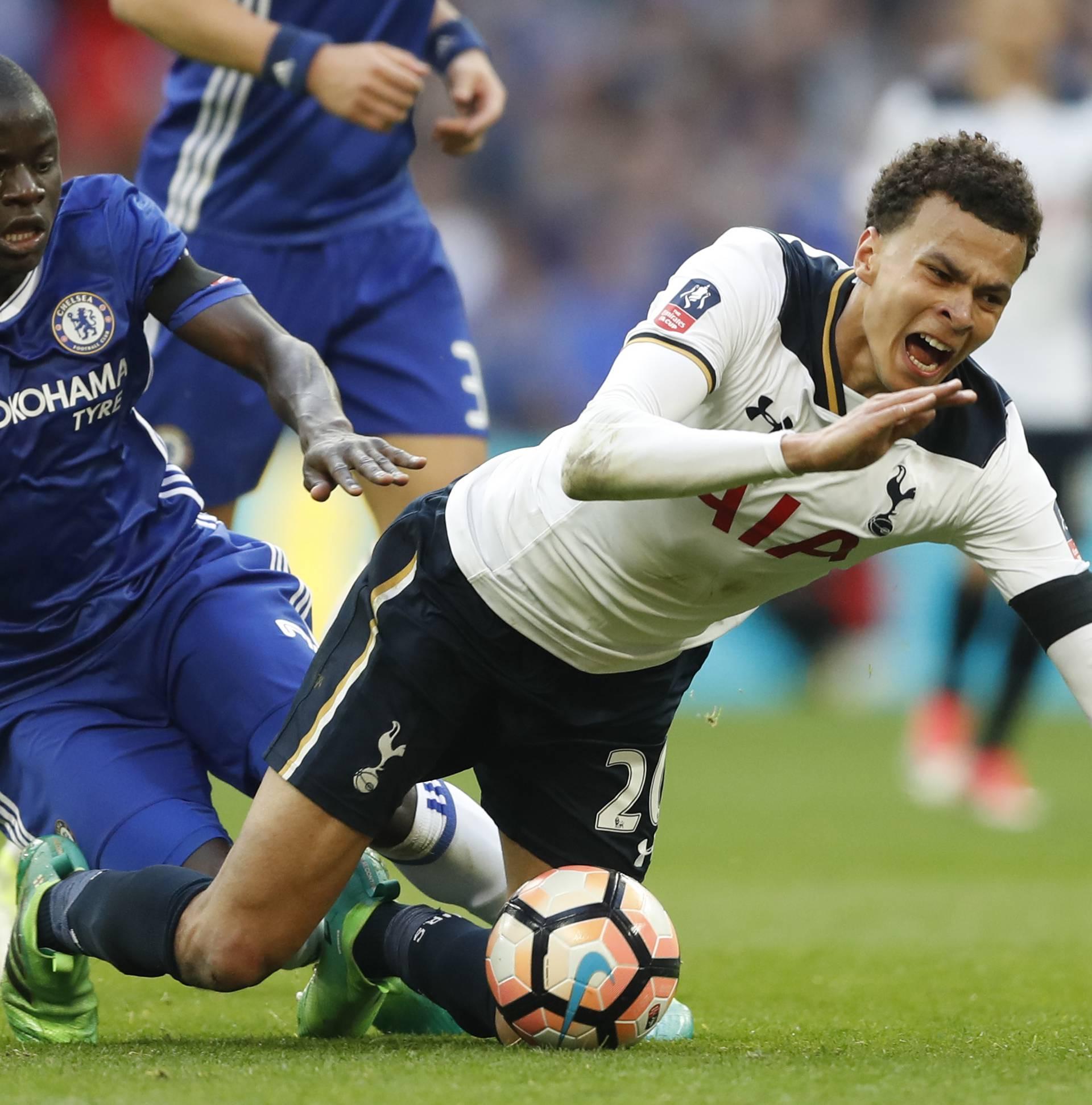 Chelsea's N'Golo Kante fouls Tottenham's Dele Alli