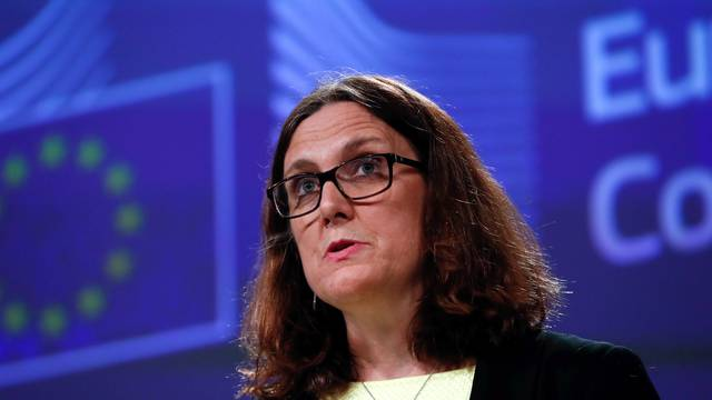 European Trade Commissioner Malmstroem holds a news conference following the United States announcement  to impose tariffs on steel and aluminium from the European Union, in Brussels