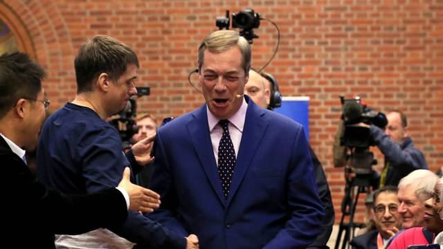 Brexit Party leader, Nigel Farage, holds a news conference in Westminster