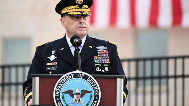 FILE PHOTO: U.S. Chairman of the Joint Chiefs of Staff General Mark Milley gives remarks during the 19th annual September 11 observance ceremony at the Pentagon