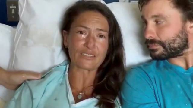 Still image from video of Amanda Eller, a yoga instructor who went missing for 17 days while hiking in Maui's Makawao Forest Reserve, speaking from her hospital bed at Maui Memorial Medical Center in Hawaii