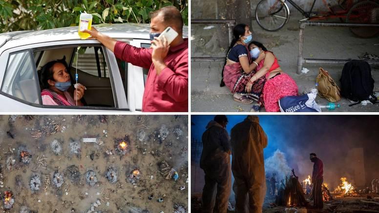 Kaos u Indiji: Nema respiratora, ljudi primaju kisik u autima: 'Umiru nam za par minuta'