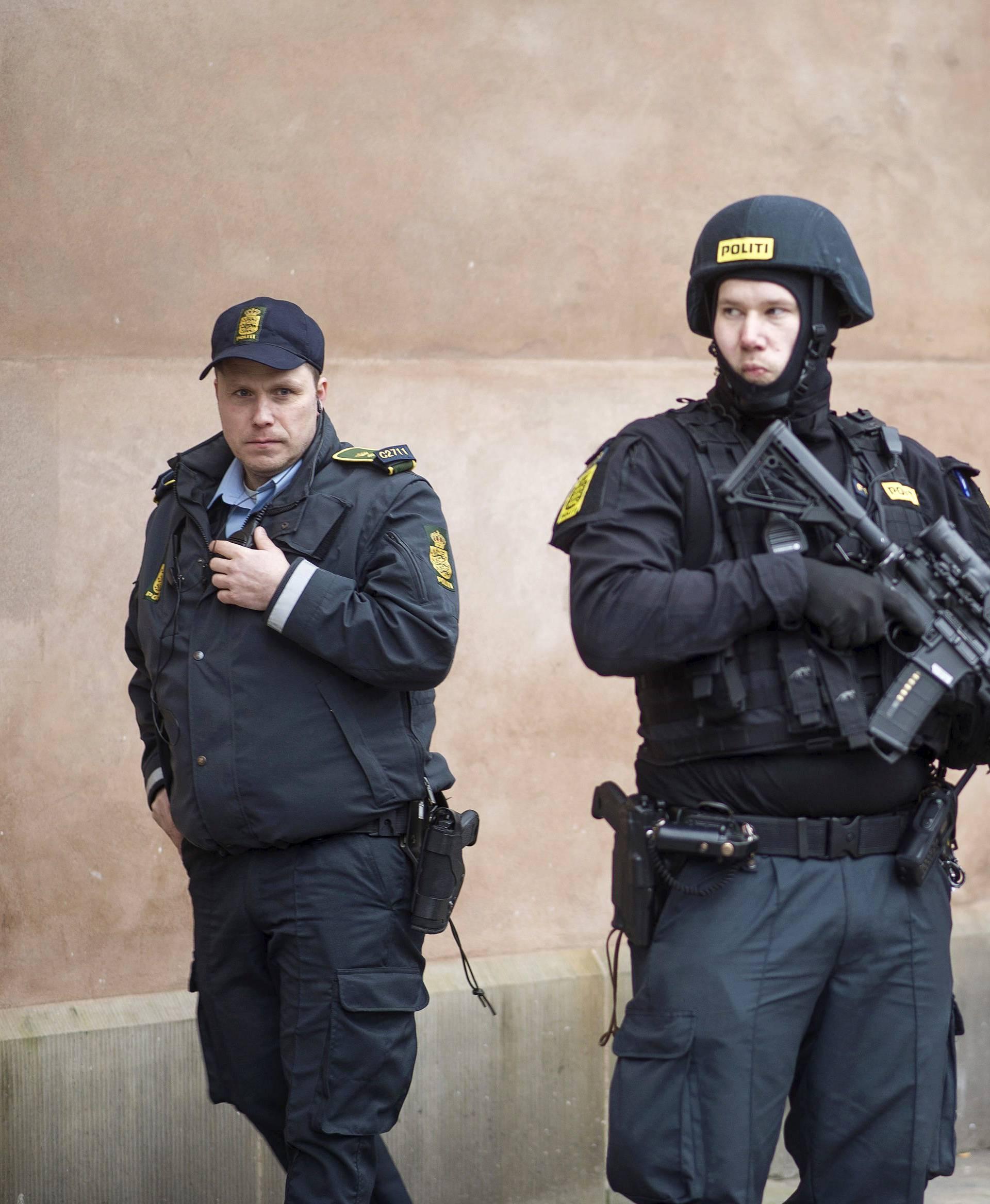 File photo shows Danish police standing guard in Copenhagen