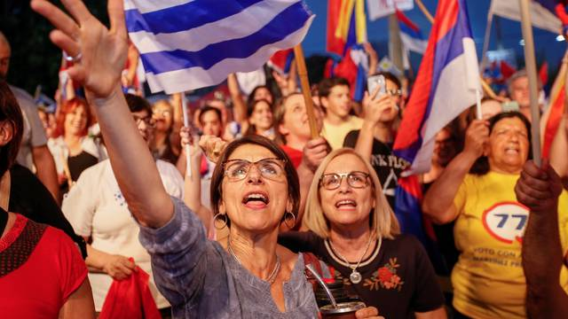 Uruguayan presidential candidate Daniel Martinez from the ruling party Frente Amplio attends a campaign closing rally in Florida
