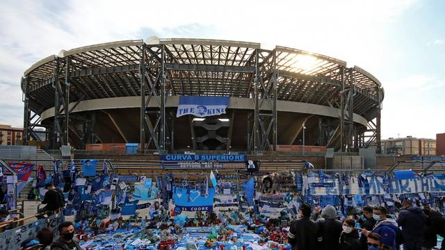 Memorial outside the San Paolo with the relics of Maradona that will be transported inside the stadium