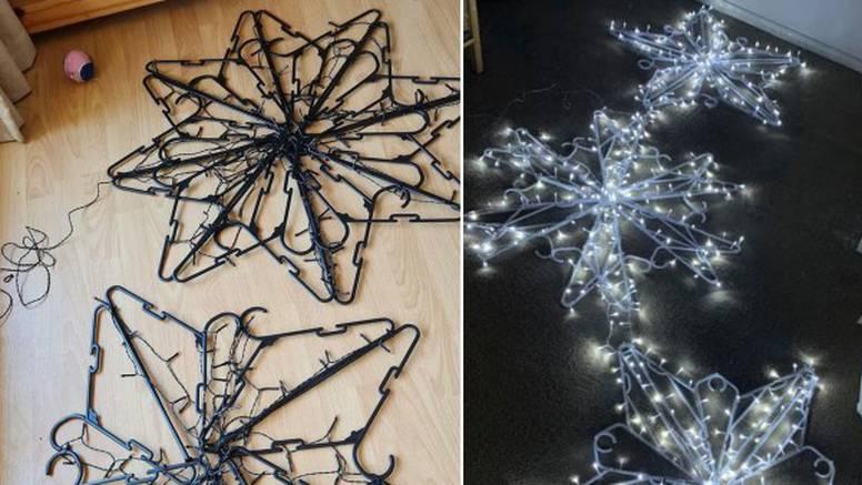 S vješalicama za odjeću možete napraviti ukras u obliku pahulje