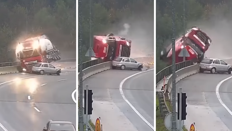 Jeziva snimka: Kamion pao s nadvožnjaka, vozač je poginuo