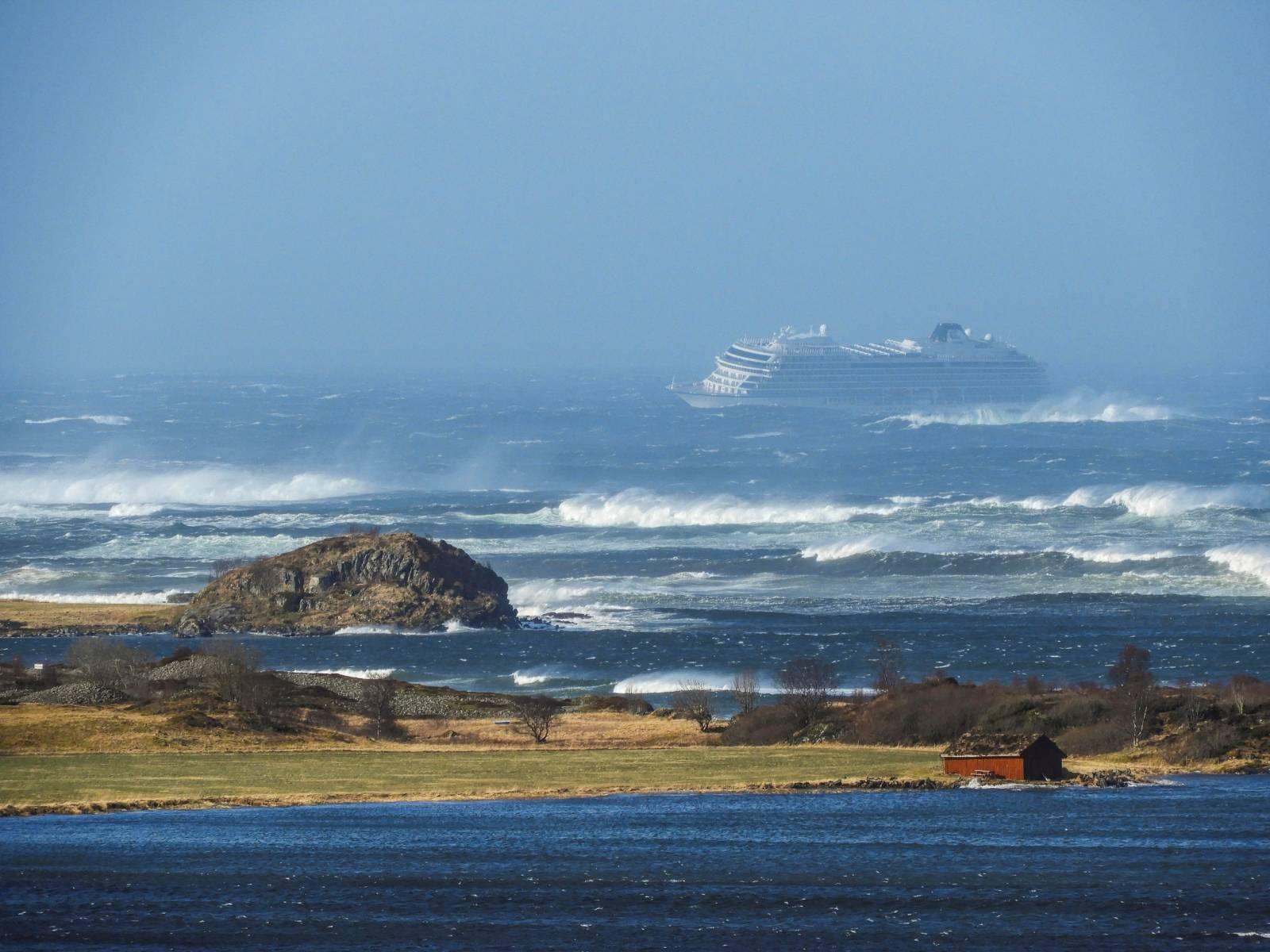 A cruise ship Viking Sky drifts towards land after an engine failure in Hustadvika