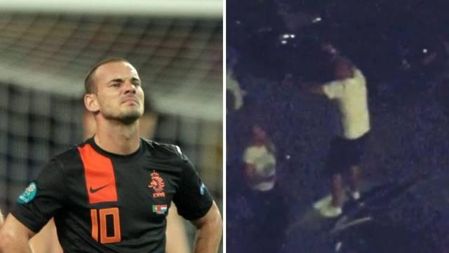 Veseli Sneijder: Napio se pa plesao po krovu automobila