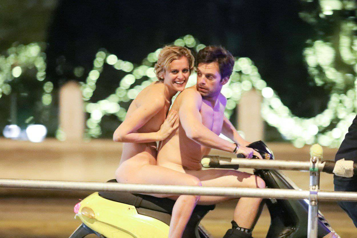 """Exclusive: Sebastian Stan and Denise Gough filming scenes for """"Monday"""""""