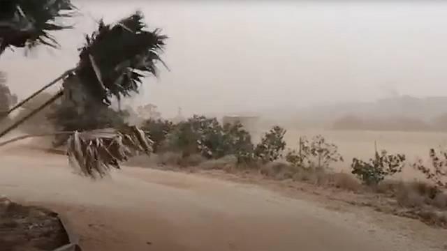 A dust storm blows across Carnarvon, Western Australia