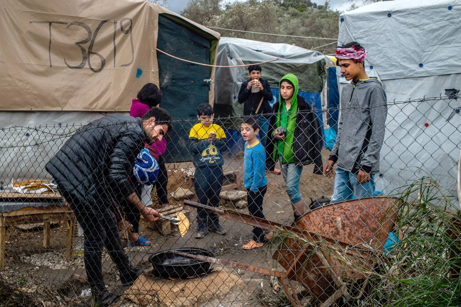 Refugee camp on Lesbos after riots