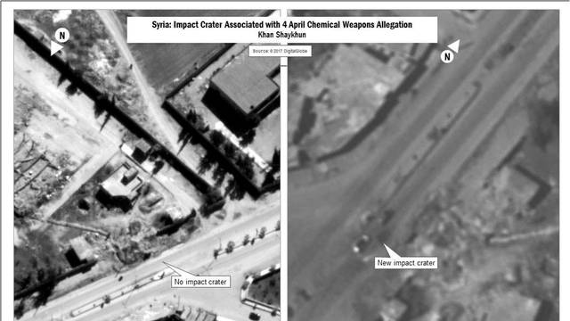 A combination image released by the U.S. Department of Defense which they say shows the impact crater associated with April 4, 2017 Chemical Weapons Allegation