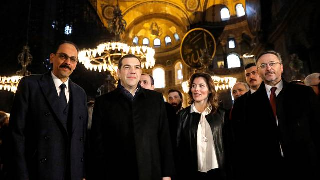 Greek PM Tsipras and Turkish officials visit the Byzantine-era monument of Hagia Sophia or Ayasofya, now a museum, in Istanbul