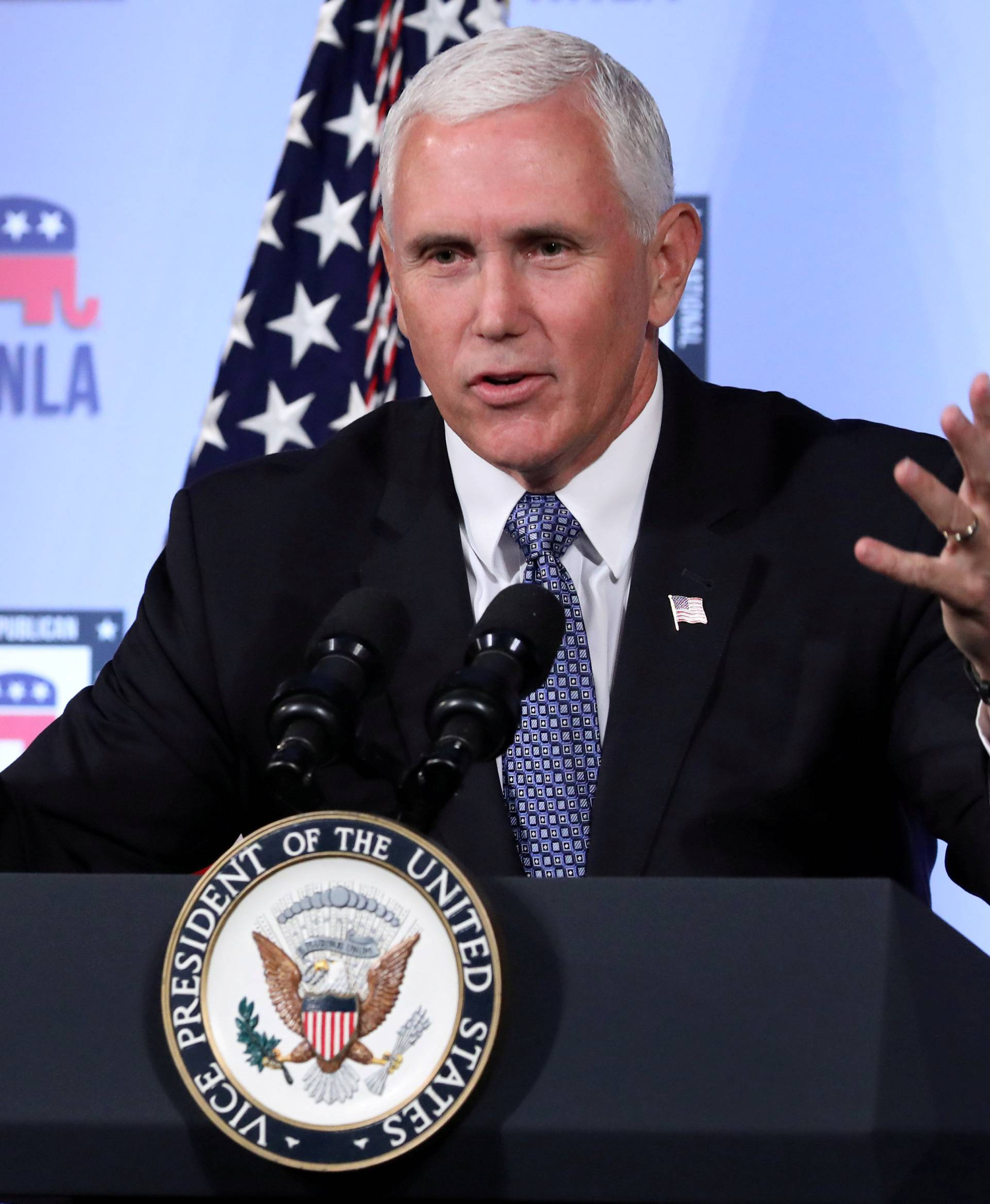 FILE PHOTO: U.S. Vice President Mike Pence delivers a speech in Washington