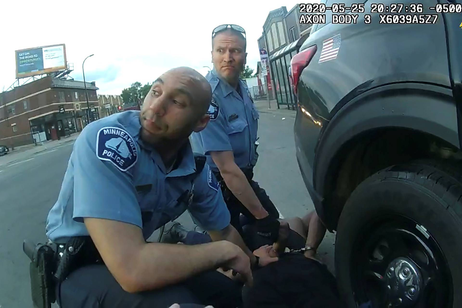 George Floyd is kneeled upon by former Minneapolis Police Department officer Derek Chauvin in Minneapolis