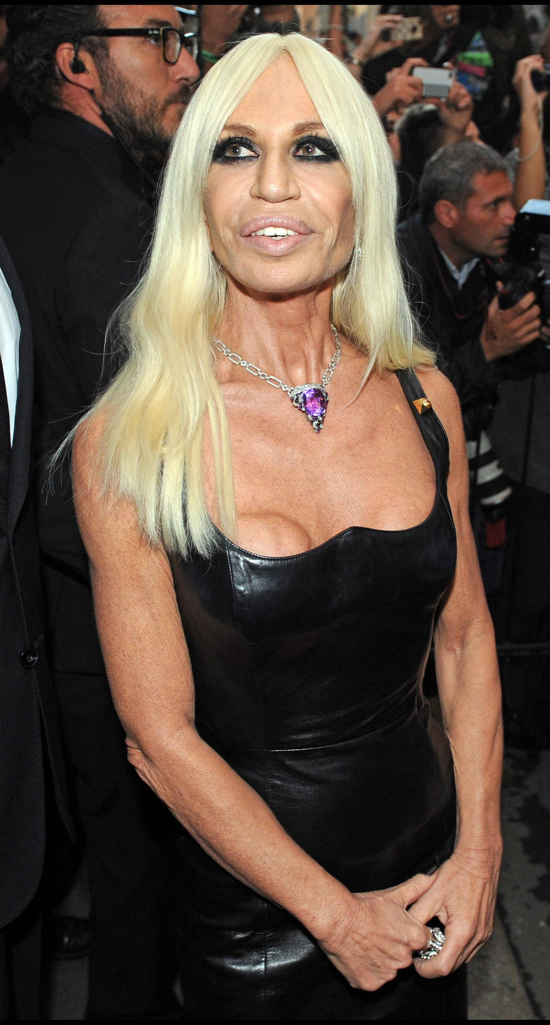 Donatella Versace posed in Milan