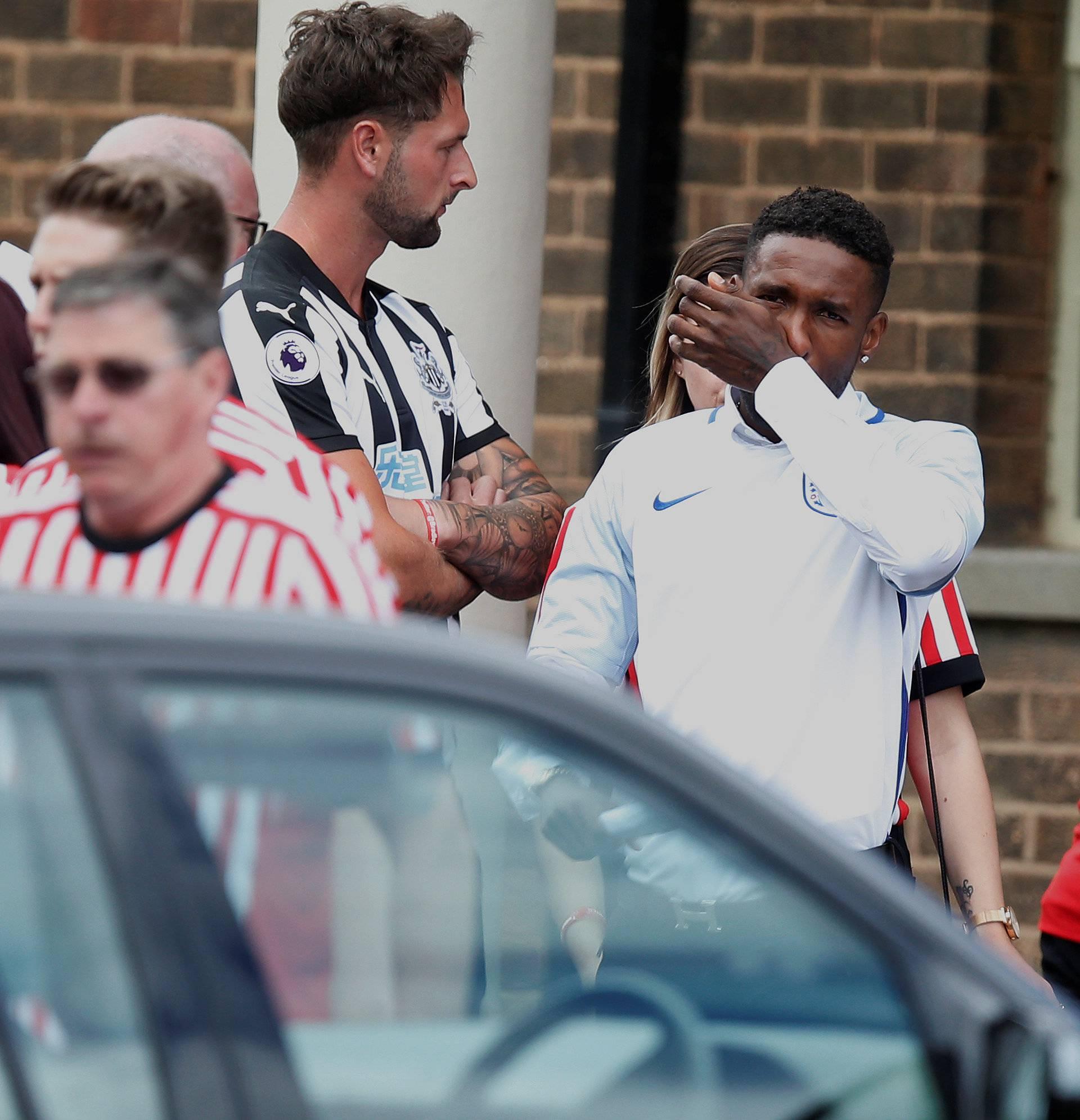 Footballer Jermain Defoe reacts ahead of the funeral of Bradley Lowery